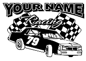 Personalized Stock Car Racing v2 Decal Sticker
