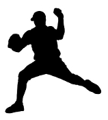 Baseball Pitcher Silhouette v3 Decal Sticker