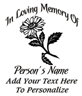 Memorial with Flower v3 Decal Sticker