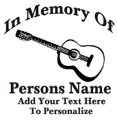 Memorial with Guitar Decal Sticker