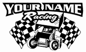 Personalized Sprint Car Racing v7 Decal Sticker