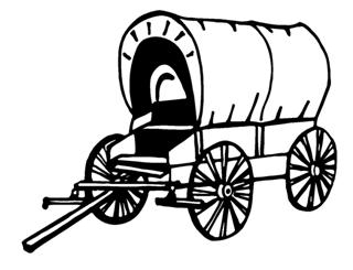 chuck wagon coloring page - covered wagon decal sticker