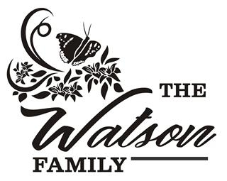 Family Name with Butterfly Design Decal