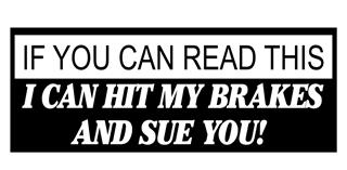 I Can Hit My Brakes and Sue You - v2 Decal Sticker