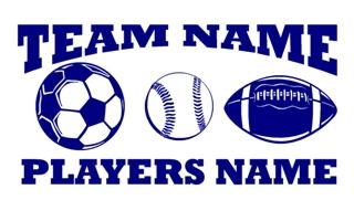 Personalized Soccer-Baseball-Football 2 Decal Sticker