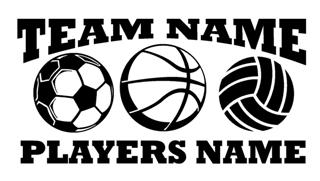 Personalized Soccer-Basketball-Volleyball 2 Decal Sticker